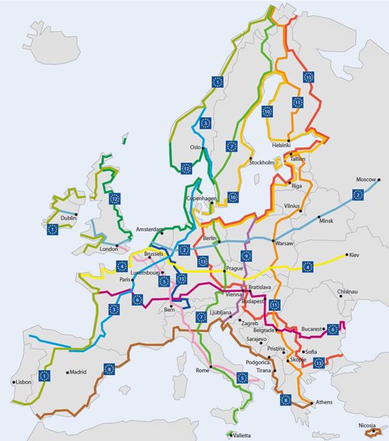 Euroveloroutes map
